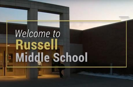 RMS Entrance and Welcome to Russell Middle School sign