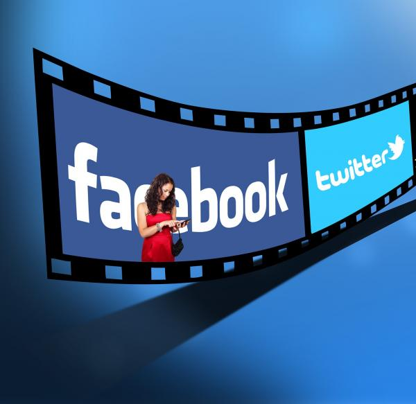 filmstrip with twitter and facebook